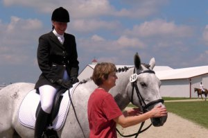 Suzette on JJ at her first show with owner Kris